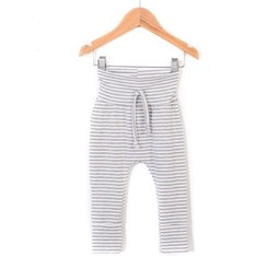 Zak et Zoé Zak et Zoe - Grow With Me Harem Pants, Light Grey and White Stripes