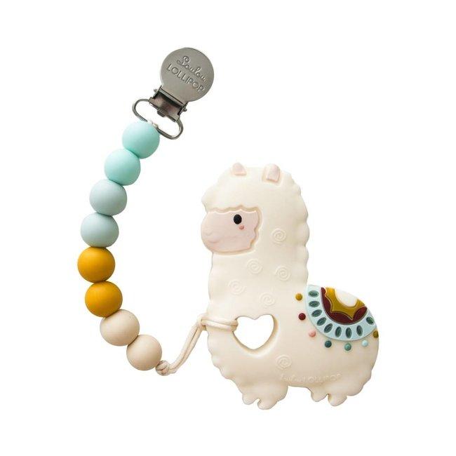 Loulou Lollipop Loulou Lollipop - Jouet de Dentition avec Attache-Suce/Teether with Pacifier Clip, Lama/Llama