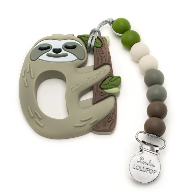 Loulou Lollipop Loulou Lollipop - Jouet de Dentition avec Attache-Suce/Teether with Pacifier Clip, Paresseux/Sloth