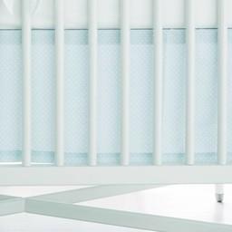 Bouton Jaune Bouton Jaune - Jupe de Lit Classique,  Toi Moi Coco/Toi Moi Coco Straight Bedskirt, Bleu à Pois/Blue with Dots