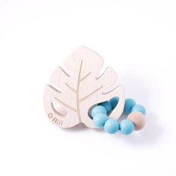 Bulle Bijouterie Bulle Bijouterie -  Hochet Feuille/Leaf Wood Rattle, Turquoise Foncé/Dark Teal