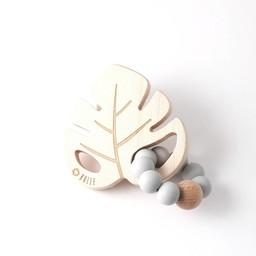 Bulle Bijouterie Bulle Bijouterie -  Hochet Feuille/Leaf Wood Rattle, Gris Pâle/Light Grey