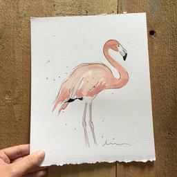 Léolia Art et Illustrations Léolia - Aquarelle/Watercolor, Flamant/Flamingo