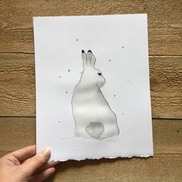 Léolia Art et Illustrations Léolia - Aquarelle/Watercolor, Lièvre dans la Neige/Hare in the Snow