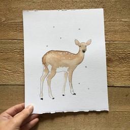 Léolia Art et Illustrations Léolia - Aquarelle/Watercolor, Faon dans la Neige/Fawn in the Snow