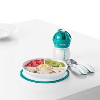 OXO OXO - Assiette Compartimentée à Ventouse/Stick & Stay Divided Plate, Sarcelle/Teal