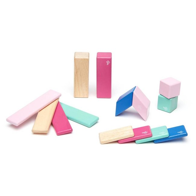 Tegu Tegu - 14 Pieces Magnetic Wooden Blocs, Blossom