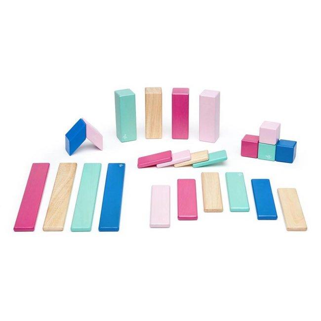 Tegu Tegu - 24 Pieces Magnetic Wooden Blocs, Blossom