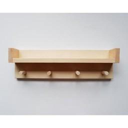 Minika Minika - Étagère en Bois 4 Crochets/4 Hooks Wooden Shelf