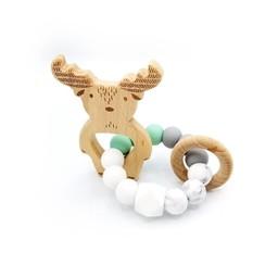 Pois et Moi Pois et Moi - Hochet Tricolore Orignal/Moose Tricolor Rattle, Menthe/Mint