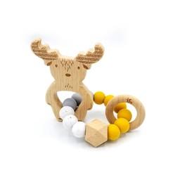 Pois et Moi Pois et Moi - Hochet Tricolore Orignal/Moose Tricolor Rattle, Moutarde/Mustard