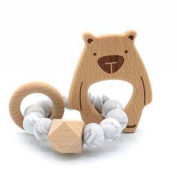 Pois et Moi Pois et Moi - Hochet Ourson Patapouf/Patapouf Bear Rattle, Marbre/Marble