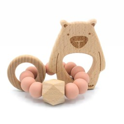 Pois et Moi Pois et Moi - Hochet Ourson Patapouf/Patapouf Bear Rattle, Rose Antique/Dusty Pink