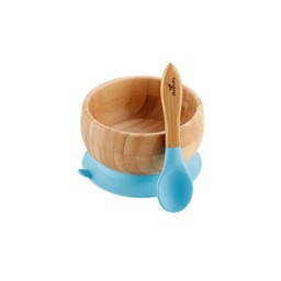 Avanchy Avanchy - Bol à Succion en Bambou et Cuillère Stay Put/Stay Put Bamboo Suction Bowl and Spoon, Bleu/Blue