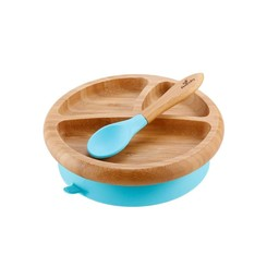 Avanchy Avanchy - Assiette à Succion en Bambou et Cuillère Stay Put/Stay Put Bamboo Suction Plate and Spoon, Bleu/Blue