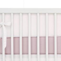 Bouton Jaune Bouton Jaune - Demi-Bordure de Lit, Toi Moi Coco/Toi Moi Coco Bed Half Bumper, Rose à Pois Crème/Pink with Cream Dots