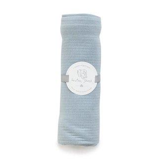 Bouton Jaune Bouton Jaune - Couverture en Coton Organique 42x42 Pouces, Bleu Vintage