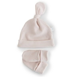 Bouton Jaune Bouton Jaune - Ensemble Chapeau et Mitaines en Coton Organique/ Organic Cotton Hat and Mitts, Rose Vintage/Vintage Pink