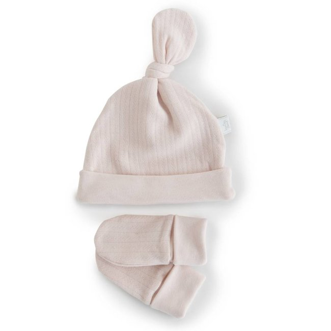 Bouton Jaune Bouton Jaune - Organic Cotton Hat and Mitts, Vintage Pink
