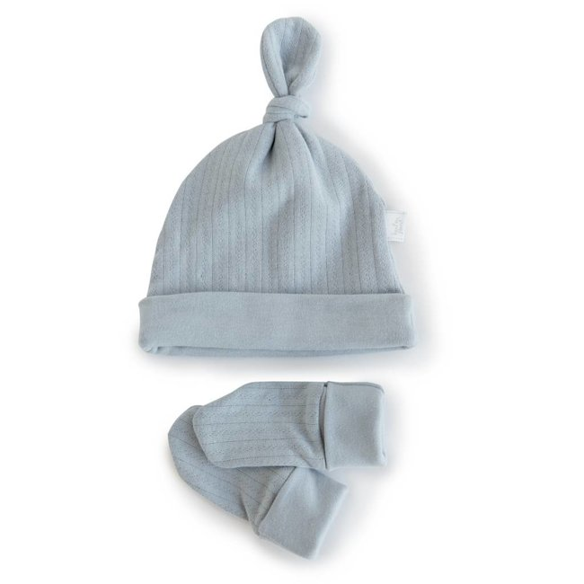 Bouton Jaune Bouton Jaune - Organic Cotton Hat and Mitts, Vintage Blue