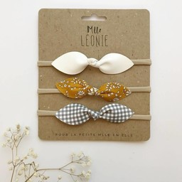 Mlle Léonie Mlle Léonie - Butterfly Knot Headbands Trio, White, Yellow Flowers, Plaid