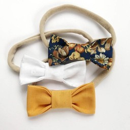 Mlle Léonie Mlle Léonie - Fabric Bow Headbands Trio, Flowers, White, Yellow