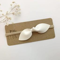 Mlle Léonie Mlle Léonie - Bandeau Boucle Papillon Cuir Lisse Vegan, Blanc