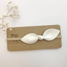 Mlle Léonie Mlle Léonie - Bandeau Boucle Papillon Cuir Texturé Vegan, Blanc