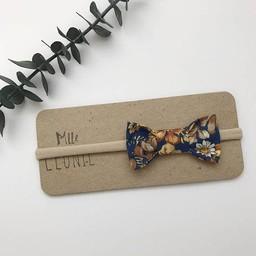 Mlle Léonie Mlle Léonie - Fabric Bow Headband, Blue Flowers