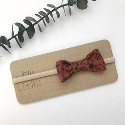Mlle Léonie Mlle Léonie - Fabric Bow Headband, Brown Flowers