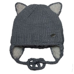 Calikids Calikids - Tuque Chat en Tricot, Gris