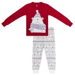 Petit Lem Petit Lem - Set with Knitted Top and Pants, Light Gray