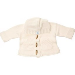 Beba Bean Beba Bean - Crochet Knit Hoodie with Wood Buttons, Ivory