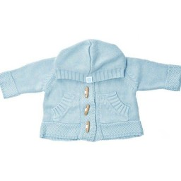 Beba Bean Beba Bean - Crochet Knit Hoodie with Wood Buttons, Blue