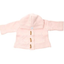 Beba Bean Beba Bean - Crochet Knit Hoodie with Wood Buttons, Pink