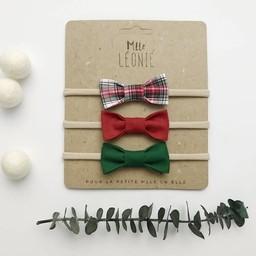 Mlle Léonie Mlle Léonie - Fabric Bow Headbands Trio, Plaid, Red, Green