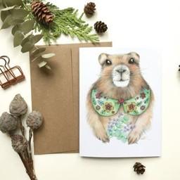 Katrinn Pelletier Illustration Katrinn Pelletier - Greeting Card, Groundhog and Bouquet