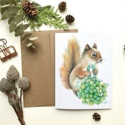 Katrinn Pelletier Illustration Katrinn Pelletier - Greeting Card, Pompom Squirrel