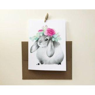 Katrinn Pelletier Illustration Katrinn Pelletier - Greeting Card, Flower Bunny
