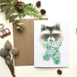 Katrinn Pelletier Illustration Katrinn Pelletier - Greeting Card, Cozy Racoon