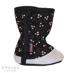 Sherpa Sherpa - Pantoufles pour Bébé Dakota/Dakota Baby Slippers, Fleurs Noirs/Black Flowers