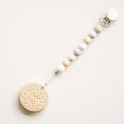 Loulou Lollipop Loulou Lollipop - Jouet de Dentition avec Attache-Suce Biscuit Crème/Cream Cookie Teether with Pacifier Clip, Marbre Neutre/Marble Neutral