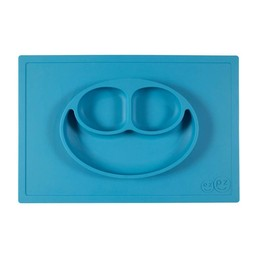 Ezpz EzPz - Napperon et Assiette Tout-en-un Happy Mat/Happy Mat All-in-one Placemat and Plate, Bleu/Blue