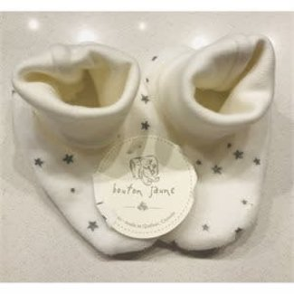 Bouton Jaune Bouton Jaune - Velvet Ratine Booties, Cream Stars, 0-3 Months