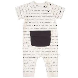 Miles Baby - Combinaison en Tricot Manches Courtes, Rayé Beige