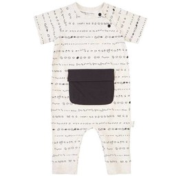 Miles Baby - Short Sleeve Knitted Baby Playsuit, Beige Stripes