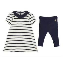 Petit Bateau Petit Bateau - Dress and Legging Set, Navy Stripes