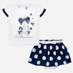 Mayoral Mayoral - Skirt Set with Dots, Navy