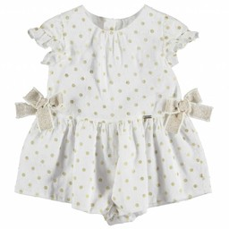 Mayoral Mayoral - Plumeti Dots Romper, Champagne