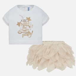 3b20c6bb0 Mayoral Mayoral - Tulle Skirt and T-Shirt Set, Champagne
